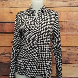 Erfo shirt black and white asymmetric pattern